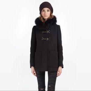MAJE Sali wool fur trimmed coat